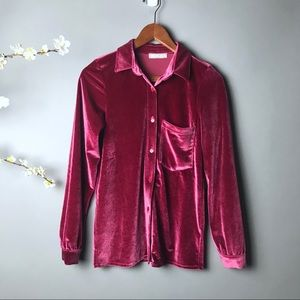 💕 Velvet Dark Mauve Dreamy Romantic Blouse Shirt